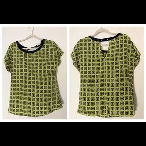 Pleione Medium Chartreuse & Navy Graphic Blouse